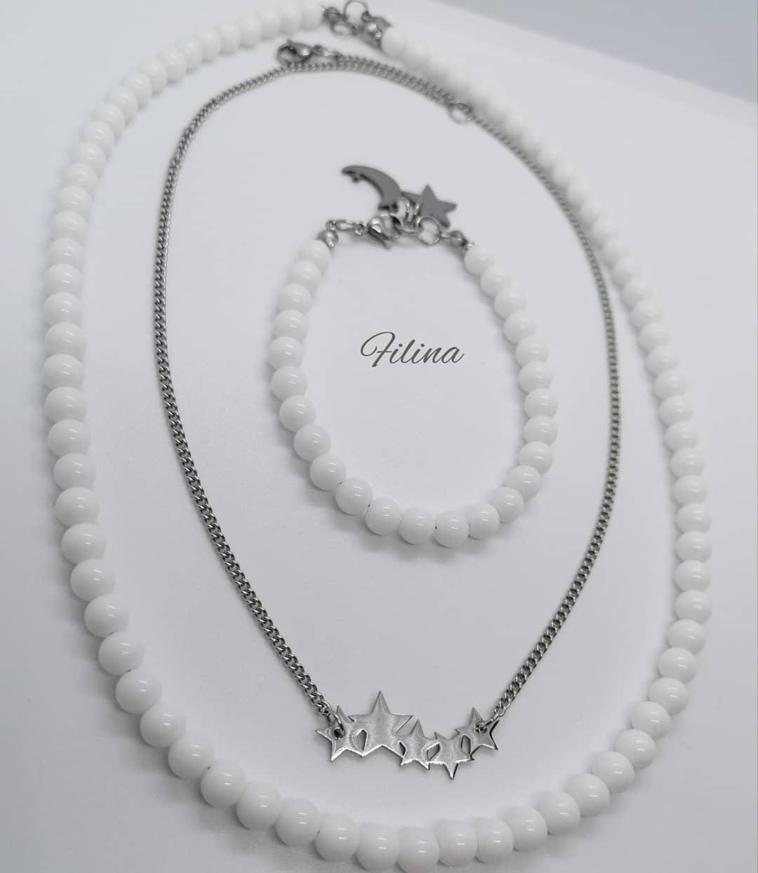 Komplet ogrlica Onix i nerđajući čelik, narukvica
